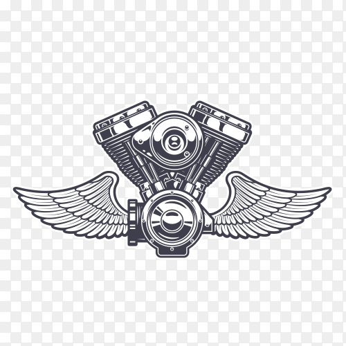 Monster engine with wings design vector PNG