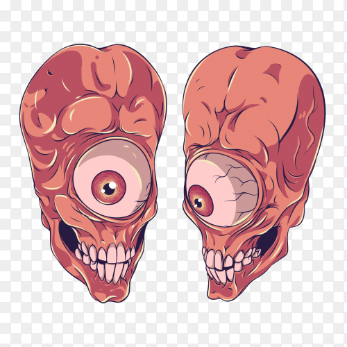 Monster with one eyes on transparent background PNG