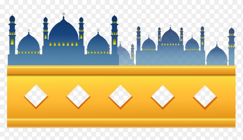 Mosque design on transparent background PNG