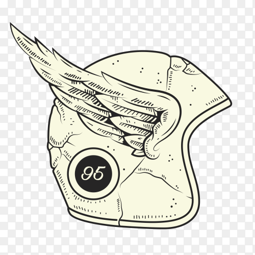 Motorcycle helmet club illustration on transparent background PNG