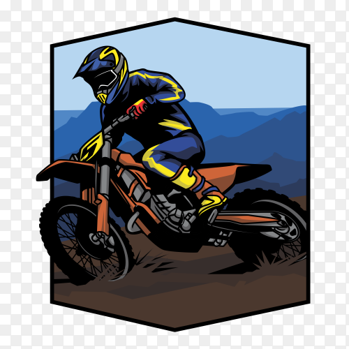 Motorcycle race on mountain on transparent background PNG
