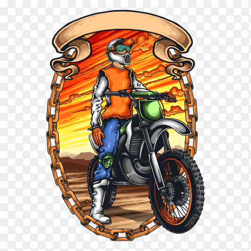 Motorcycle racer with helmet on transparent background PNG