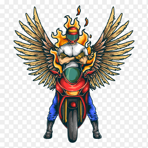 Motorcycle sport club illustration with wings Clipart PNG