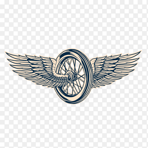 Motorcycle tyre and wings emblem on transparent background PNG