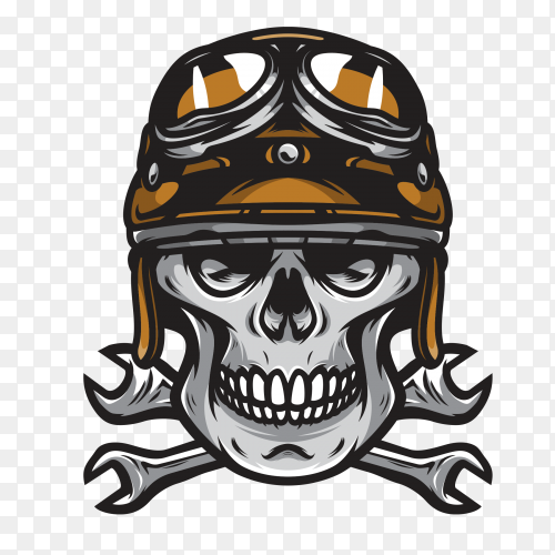 Motorcyclist skull wearing helmet and goggles on transparent background PNG