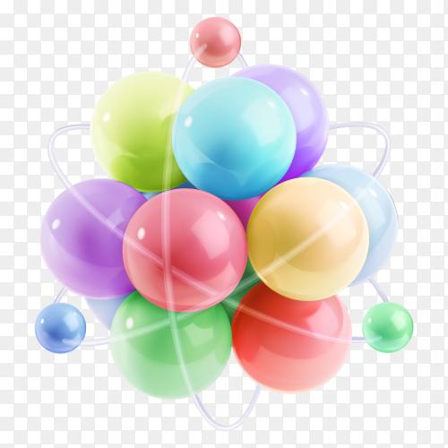 Multicoloured molecule illustration on transparent background PNG