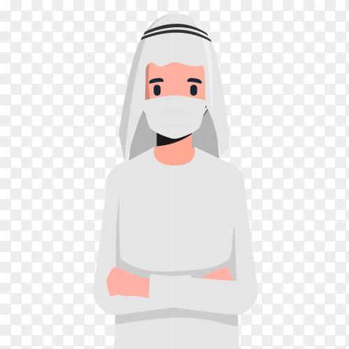 Muslim man wearing medical mask premium vector PNG