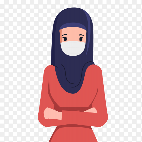 Muslim woman wearin medical mask on transparent background PNG