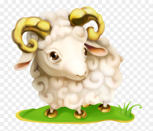 Nice cartoon sheep isolated on transparent background PNG