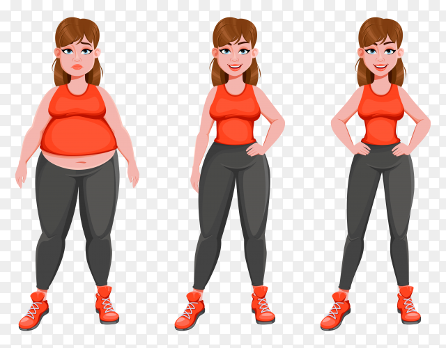 Nice girl before and after weight loss Clipart PNG