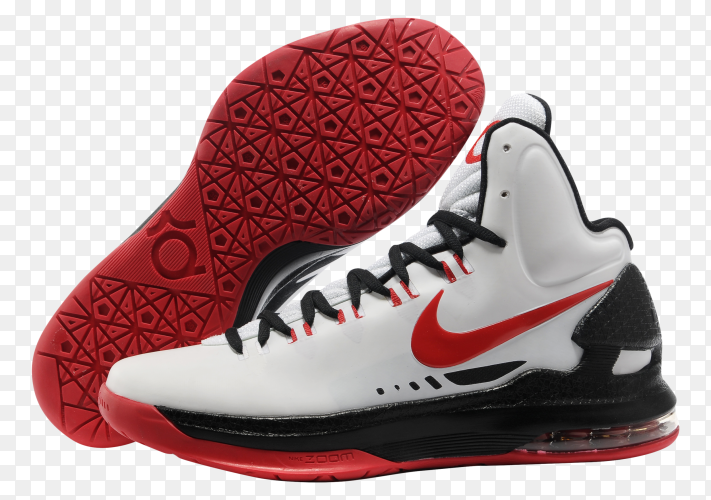 Nike basketball shoes red and white on transparent background PNG