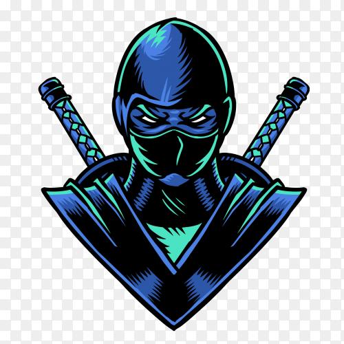 Ninja character illustration on transparent background PNG