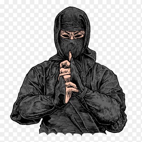 Ninja warrior on transparent background PNG