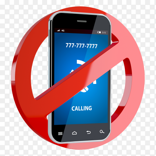 No call phone red sign on transparent background PNG