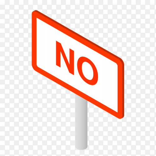 No sign on white stick on transparent background PNG