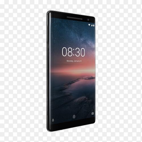Nokia 8 black mobile phone on transparent background PNG