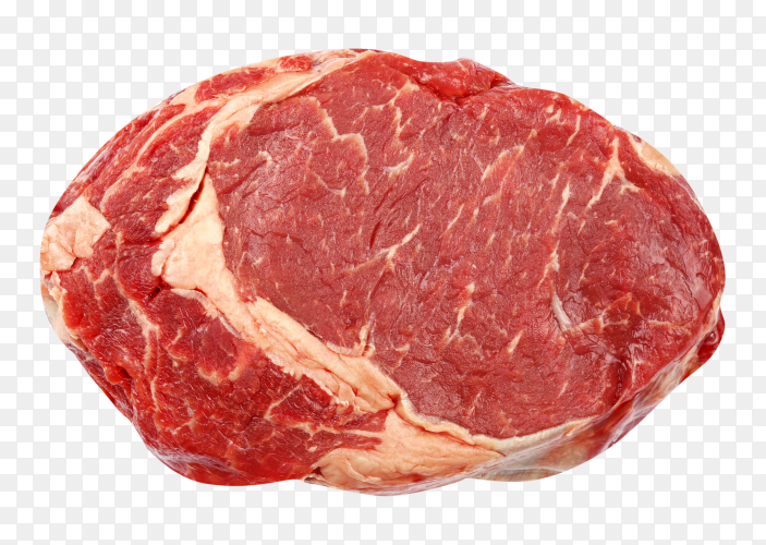One raw beef steak on transparent background PNG