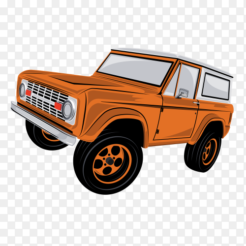 Orange classic car premium vector PNG