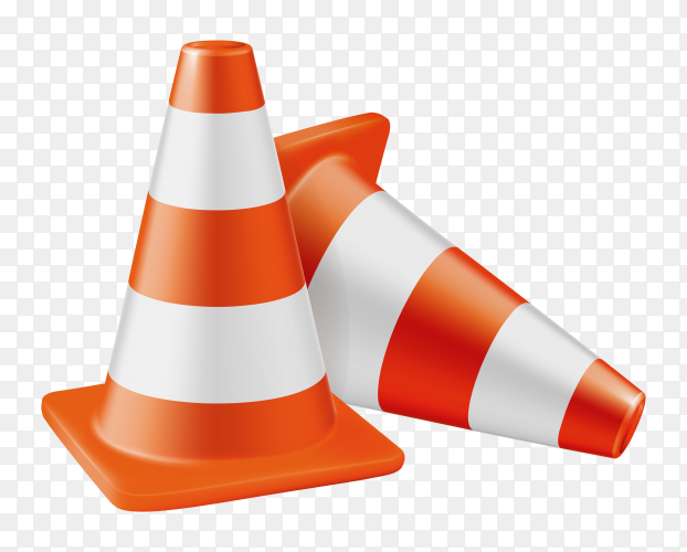 Orange road cones with stripes on transparent background PNG