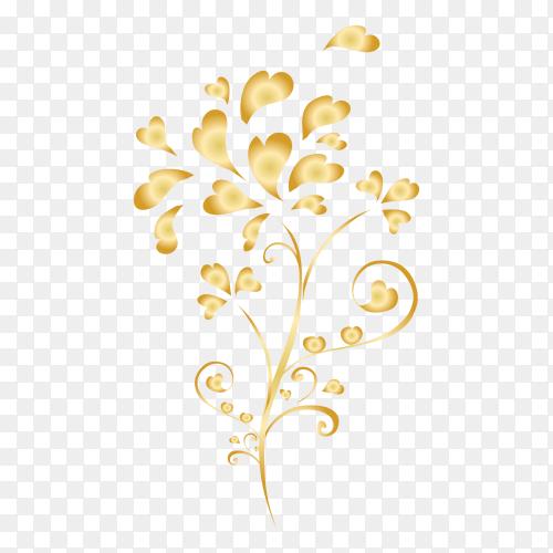 Ornamental creative floral decorative set design on transparent background PNG