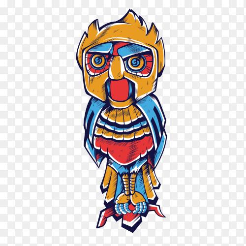 Owl Robot Illustration on transparent background PNG