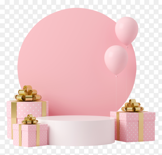 Pastel podium in 3d effect on transparent background PNG
