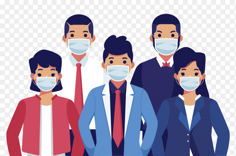 People wearing medical mask on transparent background PNG