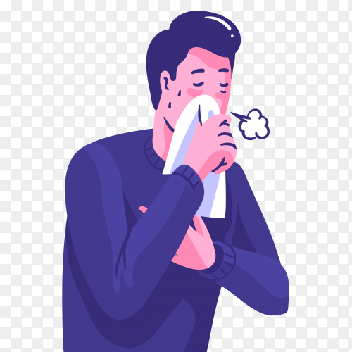 Person with a cold standing and coughing on transparent background PNG