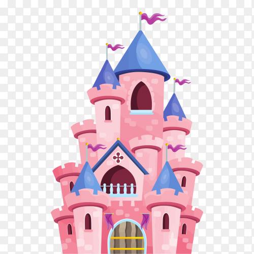 Pink castle on transparent background PNG