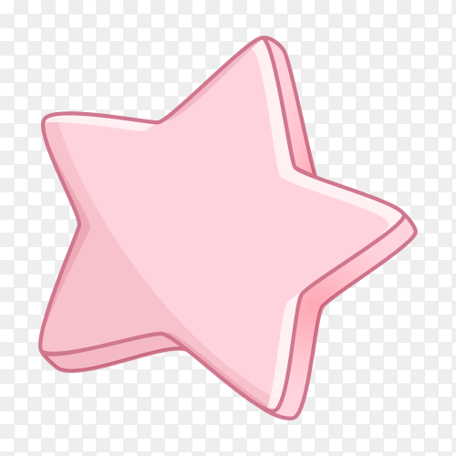 Pink star on transparent background PNG