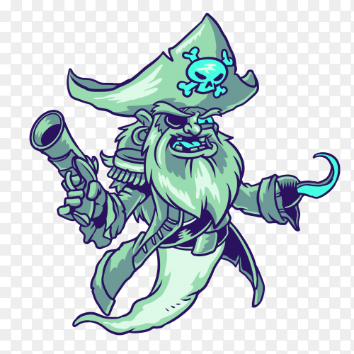 Pirate ghost illustration on transparent background PNG