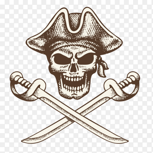 Pirate skull head on transparent background PNG