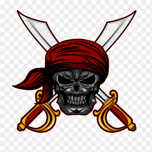Pirate skull head with headband cross sword on transparent background PNG