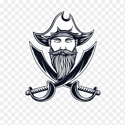 Pirate t-shirt design on transparent background PNG