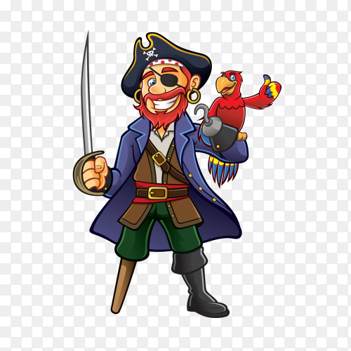 Pirate was standing holding a drawn sword with a parrot perched on hand Premium Vector PNG