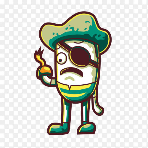 Pirate looking for treasure on transparent background PNG
