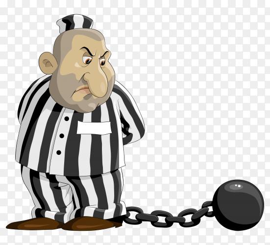 Prisoner Cartoon design on transparent background PNG