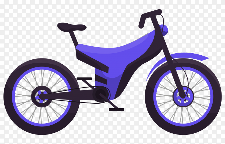 Purple bicycle isolated on transparent background PNG