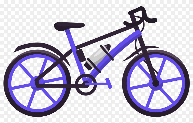 Purple bicycle on transparent background PNG