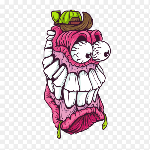 Purple monster character on transparent background PNG