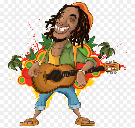 Rastaman cartoon on transparent background PNG