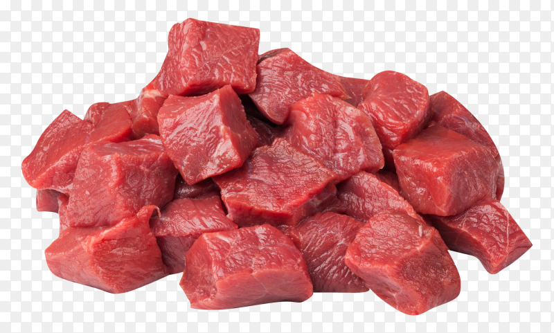 Raw beef meat pieces on transparent background PNG