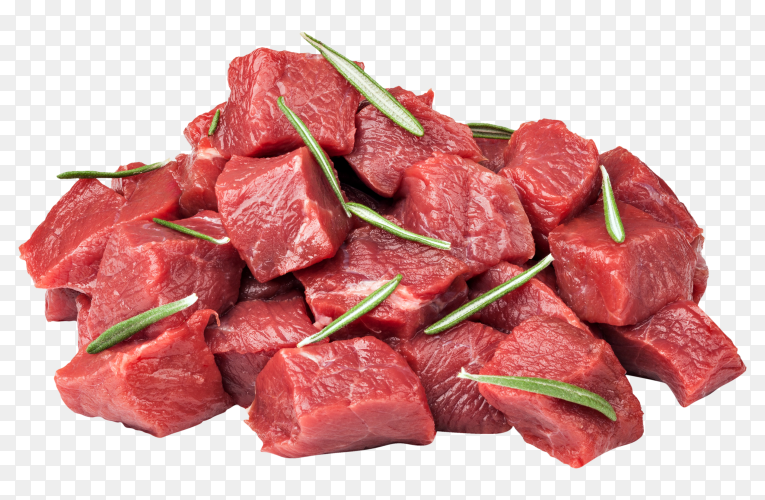 Raw beef meat pieces with herbs on transparent background PNG