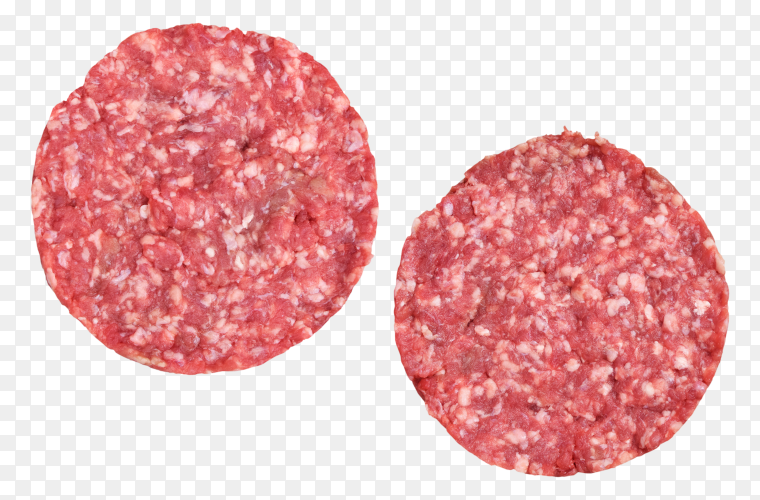 Raw burger patties by ground beef meat on transparent background PNG