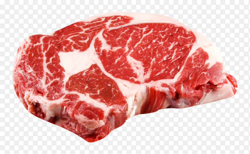 Raw steak on transparent background PNG