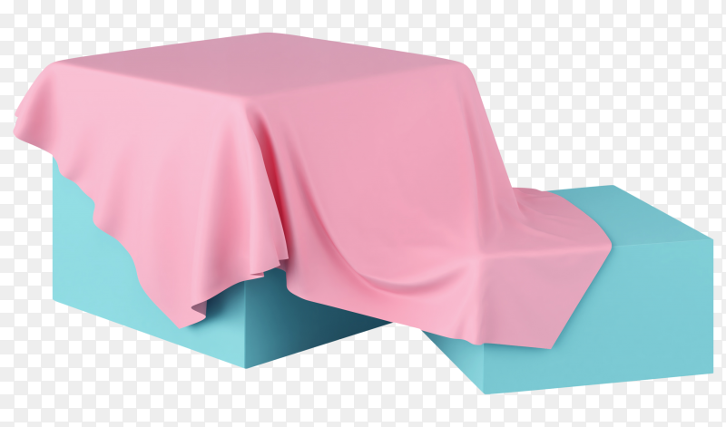 Realistic 3D stand covered with Pink silk cloth isolated on transparent background PNG