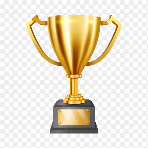 Realistic golden trophy congratulations text shiny gold banner Clipart PNG
