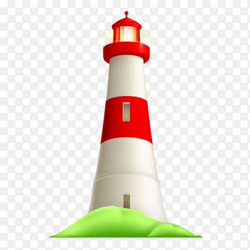 Realistic lighthouse illustration on transparent background PNG