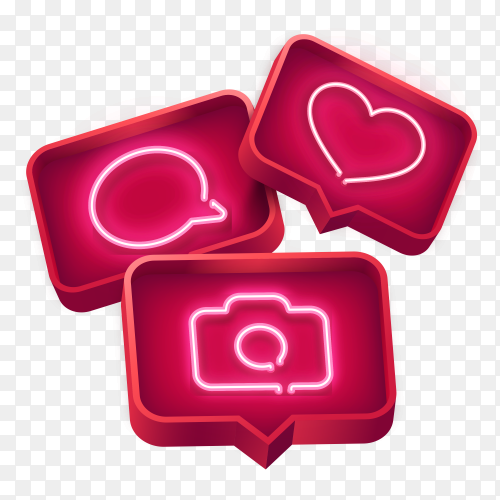 Realistic neon Social media icons on transparent background PNG