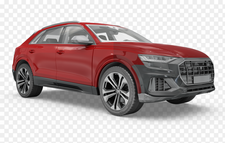 Realistic red car on transparent PNG